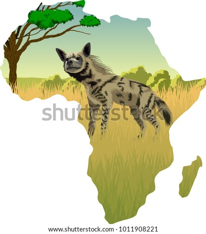 African savannah with striped hyena - vector illustration