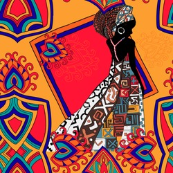 African seamless pattern. Beautiful bright seamless picture of African woman.