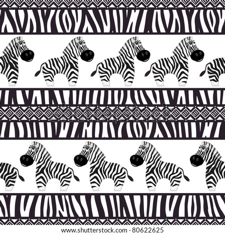 African seamless patterns with cute zebra and zebra skin.