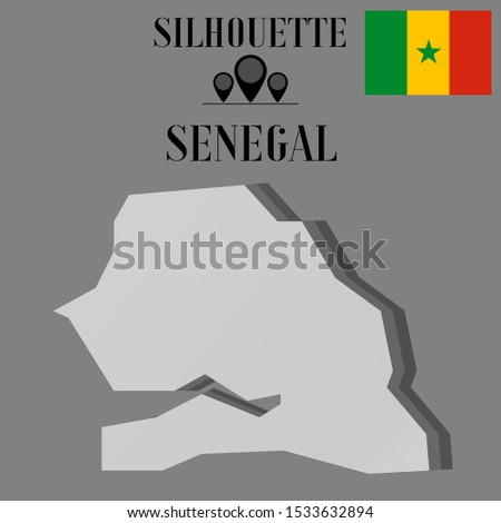 African Senegal outline world map silhouette vector illustration, creative design background, national country flag, objects, element, symbols from countries all continents set.