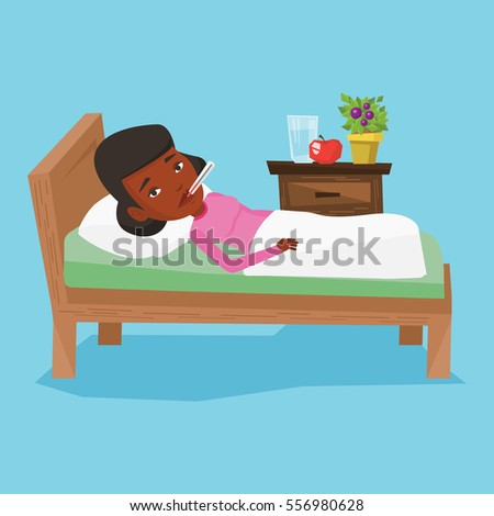 african sick woman with fever