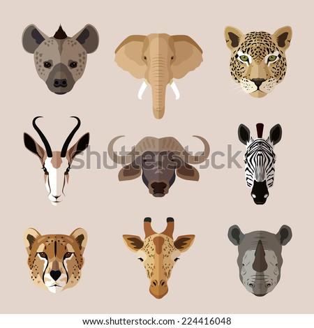 African southern animal portrait flat icons set with hyena elephant jaguar isolated vector illustration