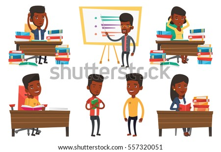 African student studying hard before exam. Stressed student studying with textbooks. Desperate student studying in the library. Set of vector flat design illustrations isolated on white background.