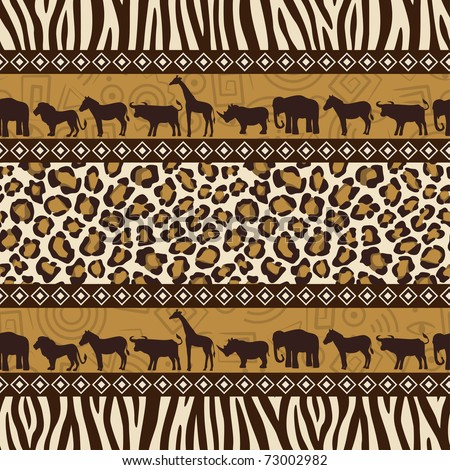 African style seamless pattern with wild animals and skin patterns.