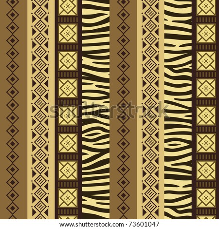 African style seamless pattern with wild animals skins