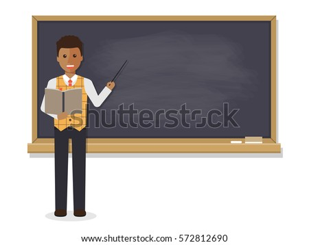 African teacher, black professor standing in front of blackboard teaching student in classroom at school, college or university. Flat design people character.