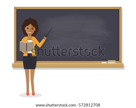 African teacher, black professor standing in front of blackboard teaching student in classroom at school, college or university. Flat design people character.