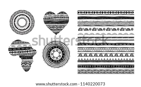 African, tribal, ethnic vector pattern brushes. Vector design elements, tribal geometric ornament, frames, borders. All used brushes included in brushes window