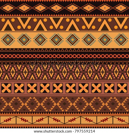 African Tribal Seamless Pattern Brown. Vector.