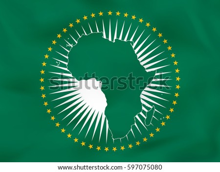 African Union waving flag. African Union national flag background texture. Vector illustration.