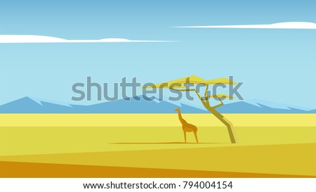 African vector landscape with a giraffe and a tree standing in the middle of savannah and mountains in the distance. Acacia and giraffe in the field of savannah illustration. Nature of Africa.