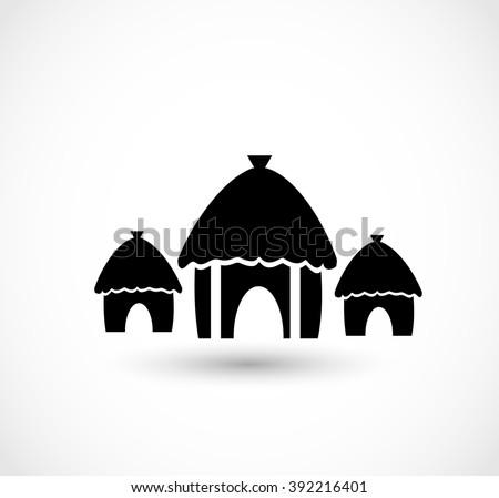 african village icon vector