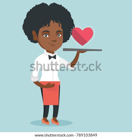 African waitress carrying a tray with social network like button. Full length of young waitress holding a restaurant tray with social network like button. Vector cartoon illustration. Square layout.