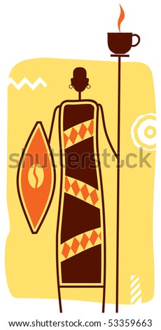 African Warrior with Cup of Coffee on Spear and coffee Bean on Shield