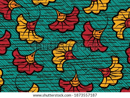 African Wax Print fabric, Ethnic handmade ornament design, tribal pattern motifs floral elements. Vector texture, afro colorful textile Ankara fashion style. Pareo wrap dress wedding flowers