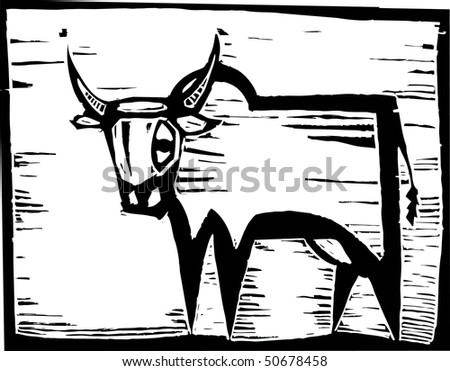 African Wildebeest in woodcut style in border.