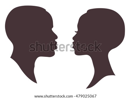 African woman and man face silhouette. Young attractive modern female brutal male profile sign logo