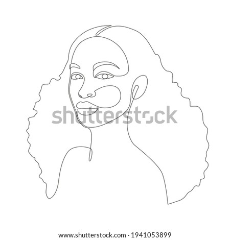 african woman face line drawing