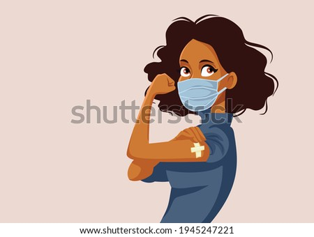 African Woman Showing Vaccinated Arm. Vaccine distribution for general population concept illustration