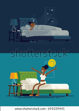 african woman sleeping at night
