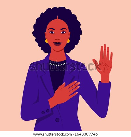 African woman swears an oath. Happy girl  makes sincere promise, keeps one hand on heart, raises palm, demonstrates loyalty gesture being honest. Vector flat illustration Сток-фото ©