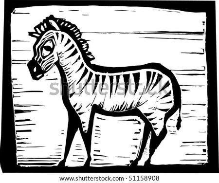 African Zebra in woodcut style in border.
