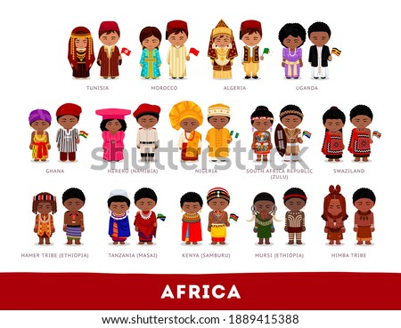 Africans in national clothes. Africa. Set of cartoon characters in traditional costume. Cute people. Vector flat illustrations. Stockfoto ©