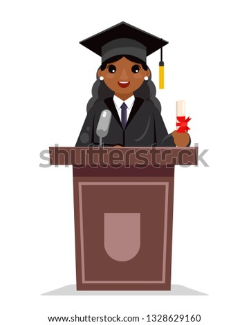Afro american female graduate solemn education woman graduation tribune speech african character design flat vector illustration