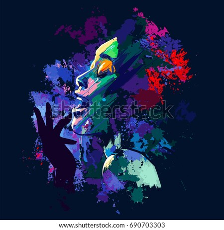 Afro american jazz singer on grunge background - vector illustration