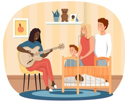 Afro American woman playing guitar. Mom singing to little child and other relatives at home. Mother puts baby to sleep. Musician plays strings on instrument. Family rest together and listens to music