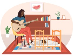 Afro American woman playing guitar. Mom singing to little child at night. Mother puts baby to sleep. Musician playing strings on instrument. Family rest together at home. Guitarist creates melody