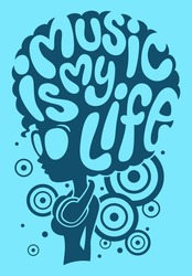 Afro girl with text on head, Music is my life concept, Flat graphic design, Vector illustration