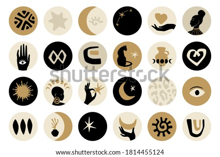 Afro gold highlight covers design set in black, gold, and gray colors. Vector afro shapes in contemporary style. Hands, afro girls profiles, black cat, moon, stars, and African ornaments.