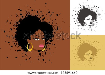 Afro: Sexy lady with abstract Afro hairstyle. The illustration is in 3 versions. No transparency and gradients used. - stock vector