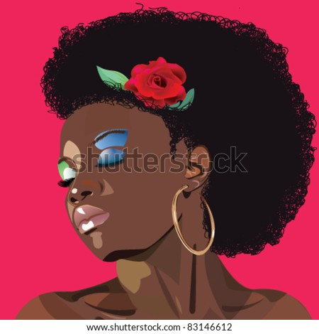 afro woman - stock vector