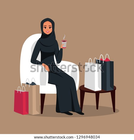 After day shopping Arab woman sitting in a armchair  surrounded by colorful bags and drinking coffee in a cafe. Vector illustration isolated from background