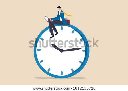 After hours worker, working late overtime or career that work in different time concept, confident businessman using computer laptop sitting on clock working at night with colleague in other country. Foto stock ©