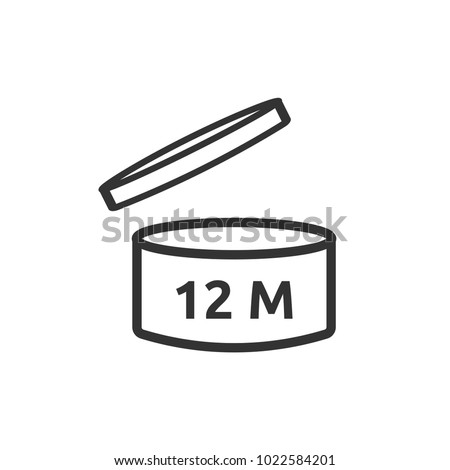 After opening use Expiration date 12 months of product signs symbols Simple Vector Icon