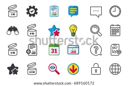 After opening use icons. Expiration date 6-12 months of product signs symbols. Shelf life of grocery item. Chat, Report and Calendar signs. Stars, Statistics and Download icons. Vector