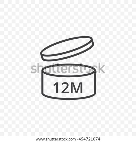 After opening use icons. Expiration date 12 months of product signs symbols. Shelf life of grocery item. Vector image.  Transparent background