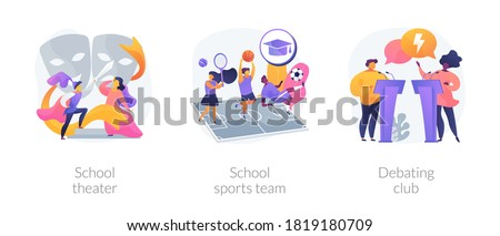 After-school activity abstract concept vector illustration set. School theater, sports team, debating club, kids drama class, speaking class, communication skill, workshop abstract metaphor. Photo stock ©