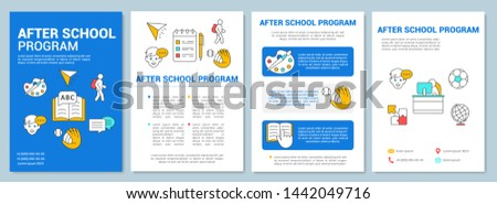 After school program brochure template layout. Learning center. Flyer, booklet, leaflet print design with linear illustrations. Vector page layouts for magazines, annual reports, advertising posters