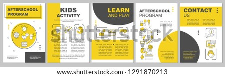 Afterschool program brochure template. After school tutoring, kids activities. Flyer, booklet, leaflet print design. Education and child leisure time. Vector layouts for magazines, reports, posters