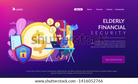 Age pension, money savings. Online banking account protection. Elderly financial security, elderly poverty problem, seniors budget planning concept. Website homepage landing web page template.