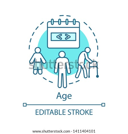 Age turquoise concept icon. Aging beauty treatment and lifting idea thin line illustration. Process of aging vector isolated outline drawing. The life cycle, generation of people editable stroke