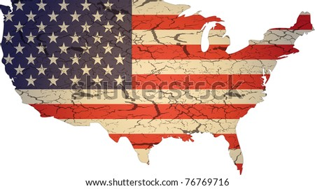Aged american flag vector illustration