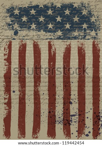 Aged American Patriotic Background. Vector illustration, EPS10.