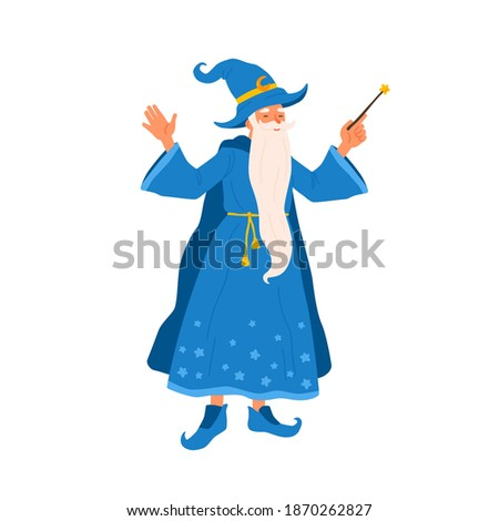 Aged bearded mage conjure with magic wand. Portrait of old magician practicing wizardry. Cute wise sorcerer in magical costume. Flat vector cartoon illustration of funny wizard isolated on white Foto stock ©