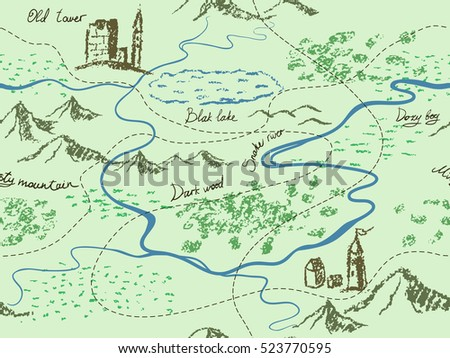 Free ancient global map vector download free vector art stock aged fantasy vintage seamless map with mountains buildings trees hills river gumiabroncs Gallery