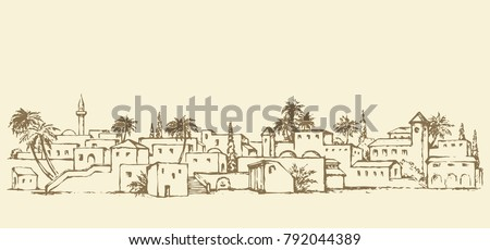 Aged middle east antique turkey orient palm tree oasis scene view with vintage tower dwelling. Outline ink hand drawn picture sketch in retro engraving graphic style with place for text on white sky
